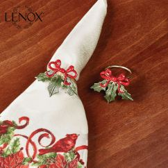 Lenox Christmas Chair Covers Cvs Shower With Bench Holiday Ribbon Napkin Ring Set Of 4