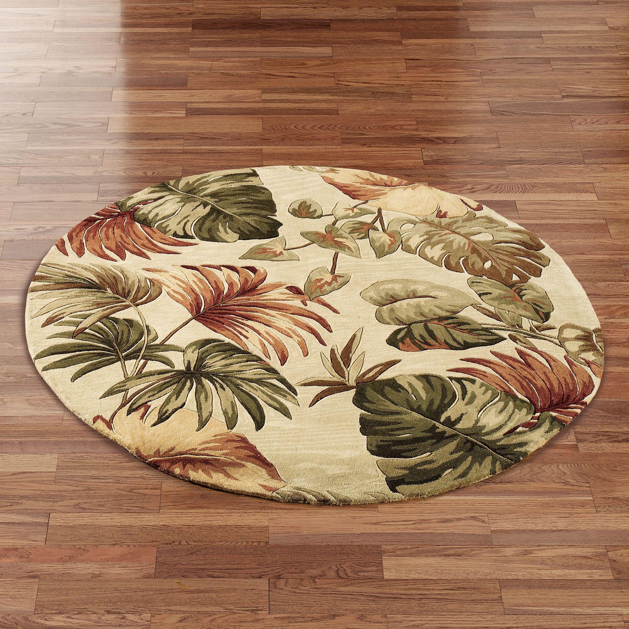 Palm Leaf Round Area Rug