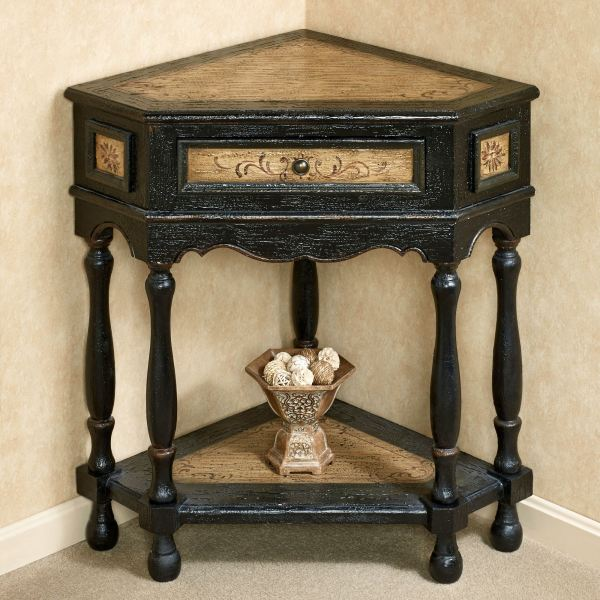 Corner Accent Table with Drawer