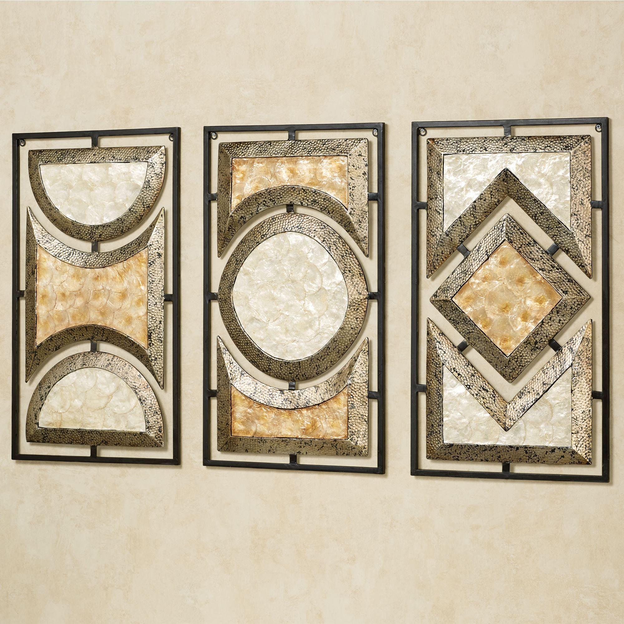 Pasquale Capiz Shell Metal Wall Art Set