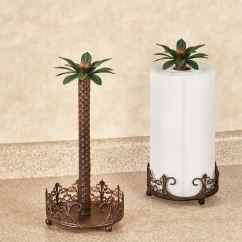 Palm Tree Kitchen Decor Large Window Curtains Oasis Metal Paper Towel Holder