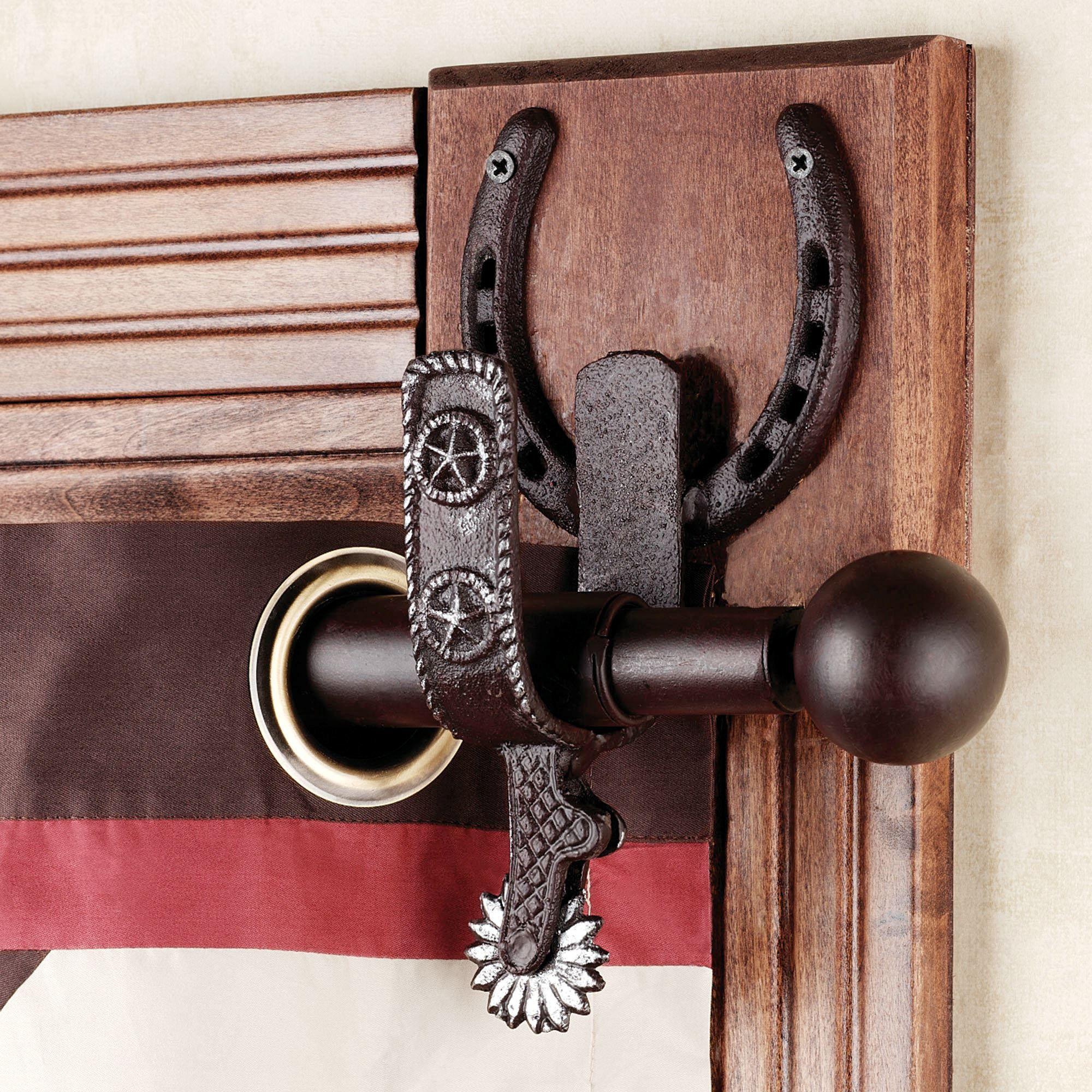 spurs western decorative curtain rod set