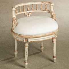 Vanity Chair With Back Starck Ghost Queensley Upholstered Antique Ivory