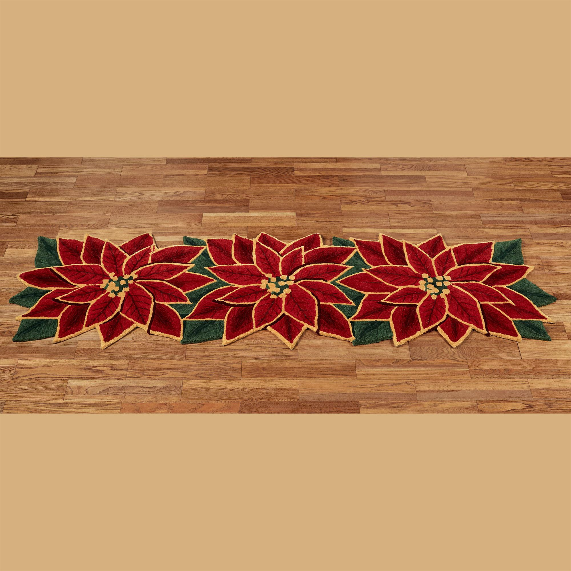 Elegant Poinsettia Shaped Holiday Rugs