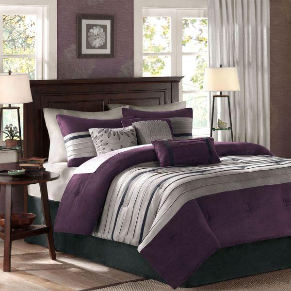 Porter Grape Microsuede 7 Pc Comforter Bed Set