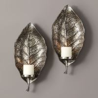 Zelkova Leaf Wall Sconce Pair with Candles