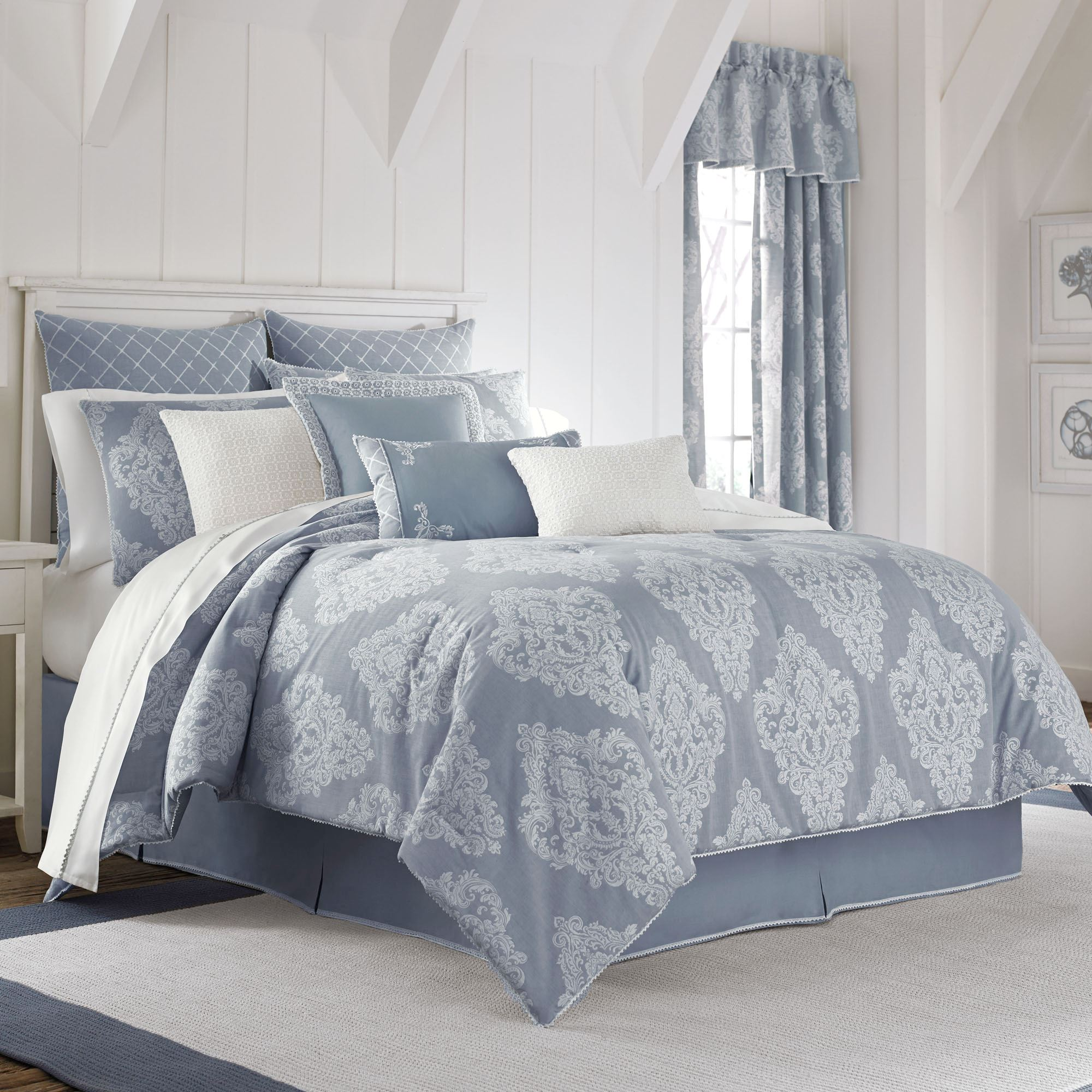 Ansonia Denim Blue Damask Comforter Bedding by Piper  Wright