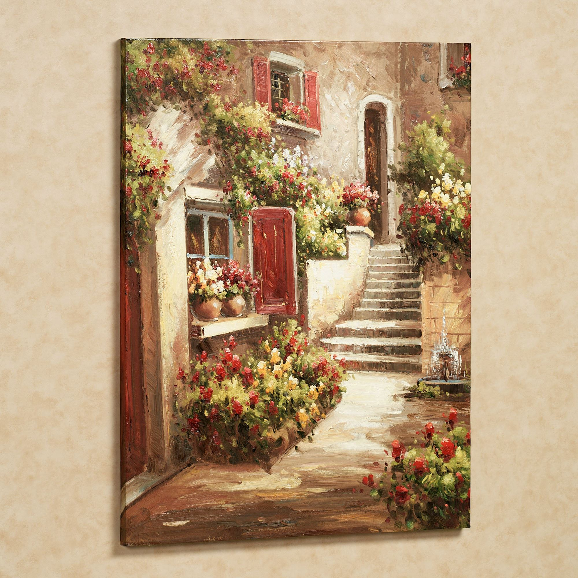 tuscan flowers canvas wall