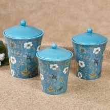 Exotic Garden Blue Floral Kitchen Canister Set