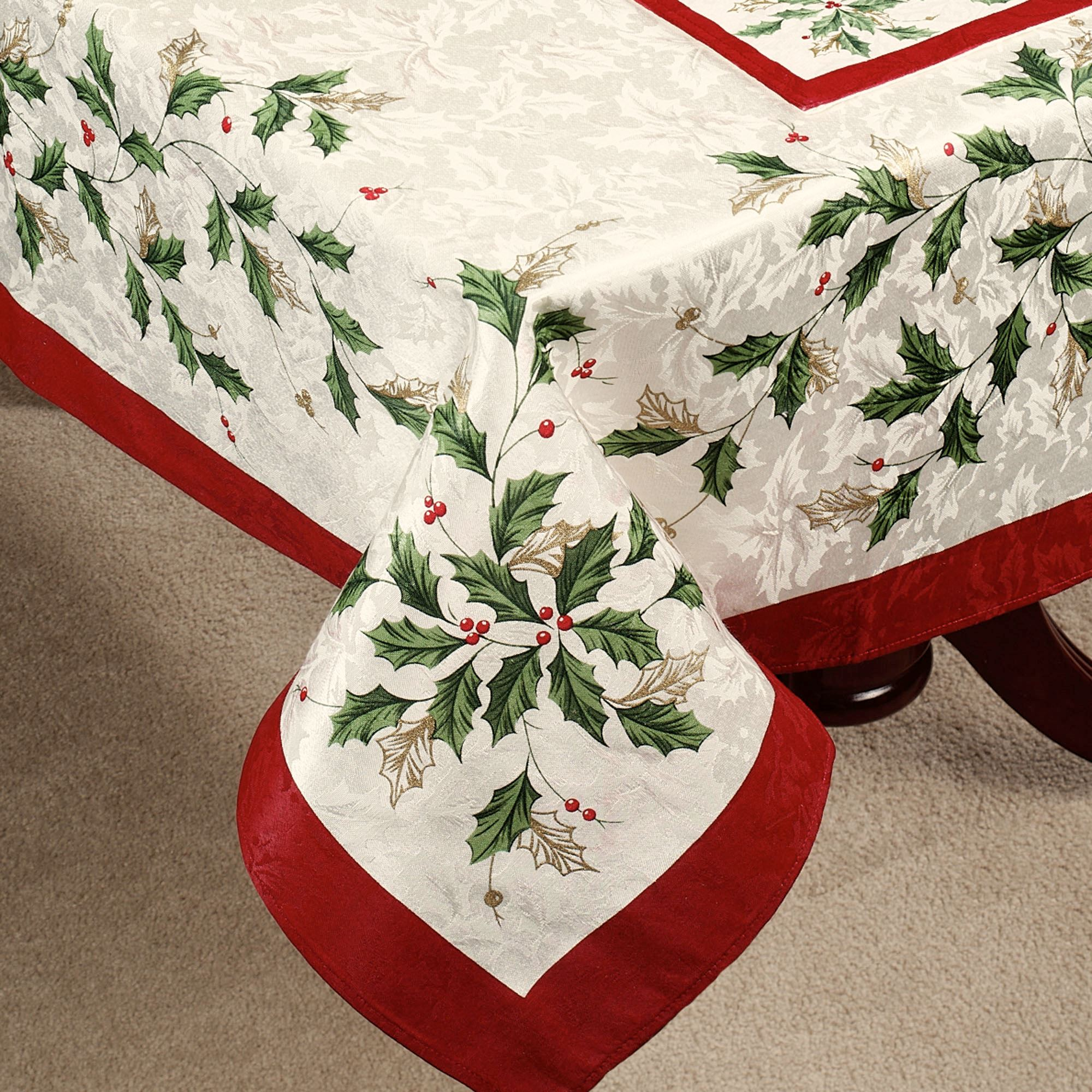 lenox christmas chair covers wicker dining chairs indoor holiday table linens oblong tablecloth ivory