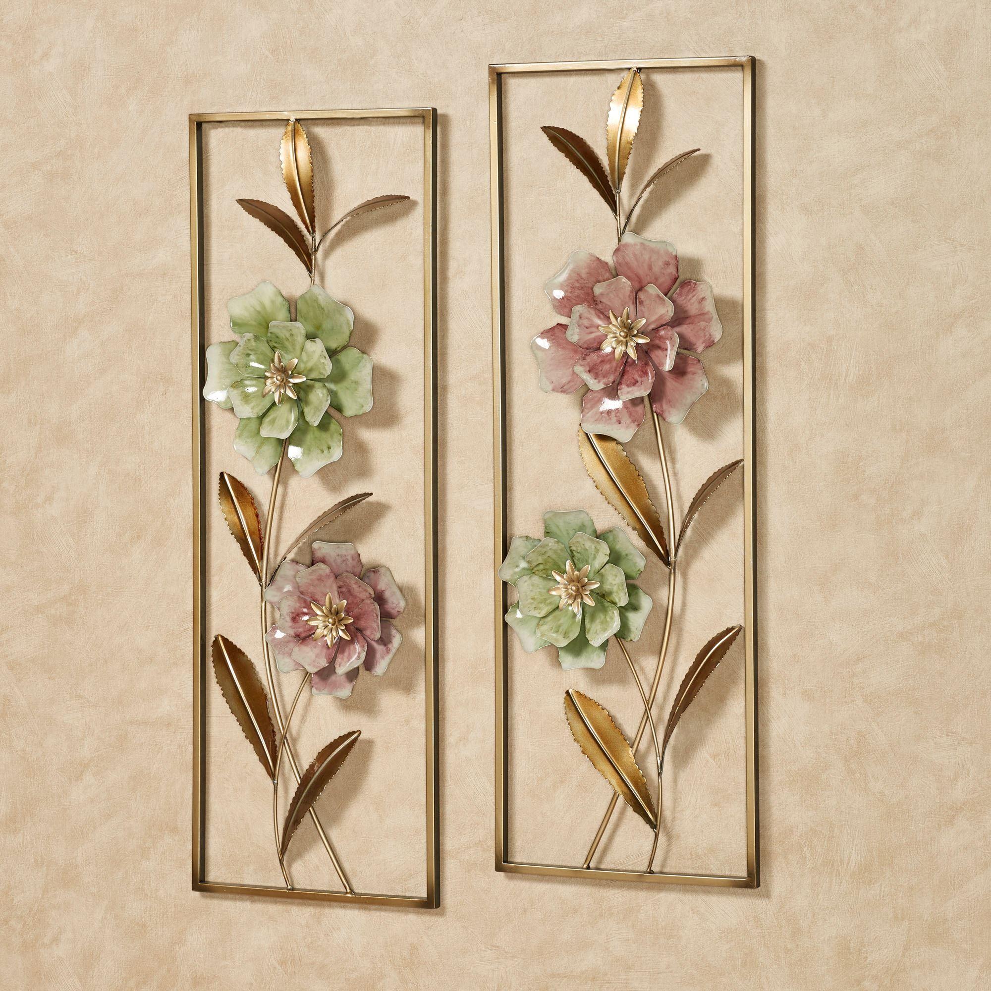 Cordial Rose Flower Blossom Metal Wall Art Set