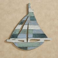 Sailboat Shaped Slatted Wooden Wall Art