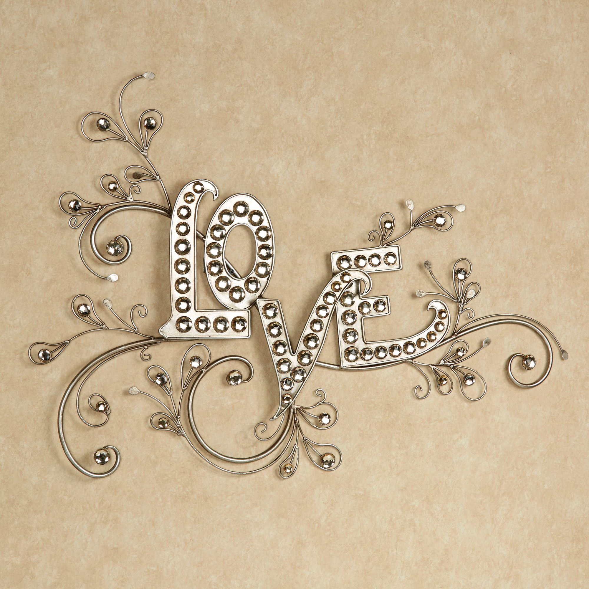 sparkling love gem word wall art