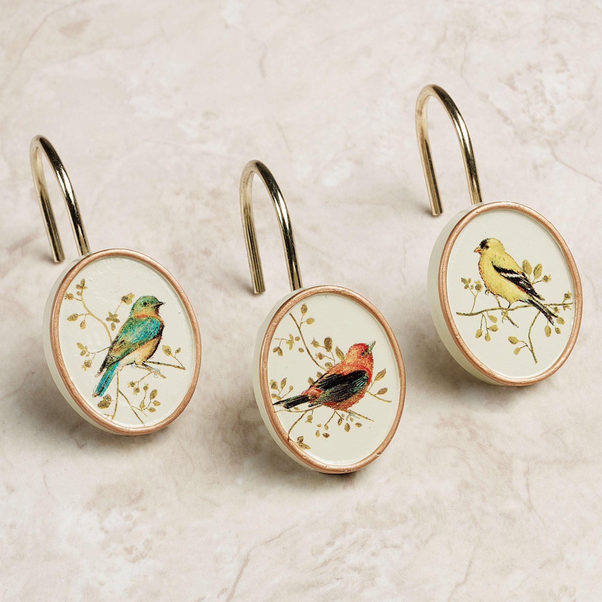 Gilded Bird Shower Curtain Hook Set Ivory Set Of Twelve