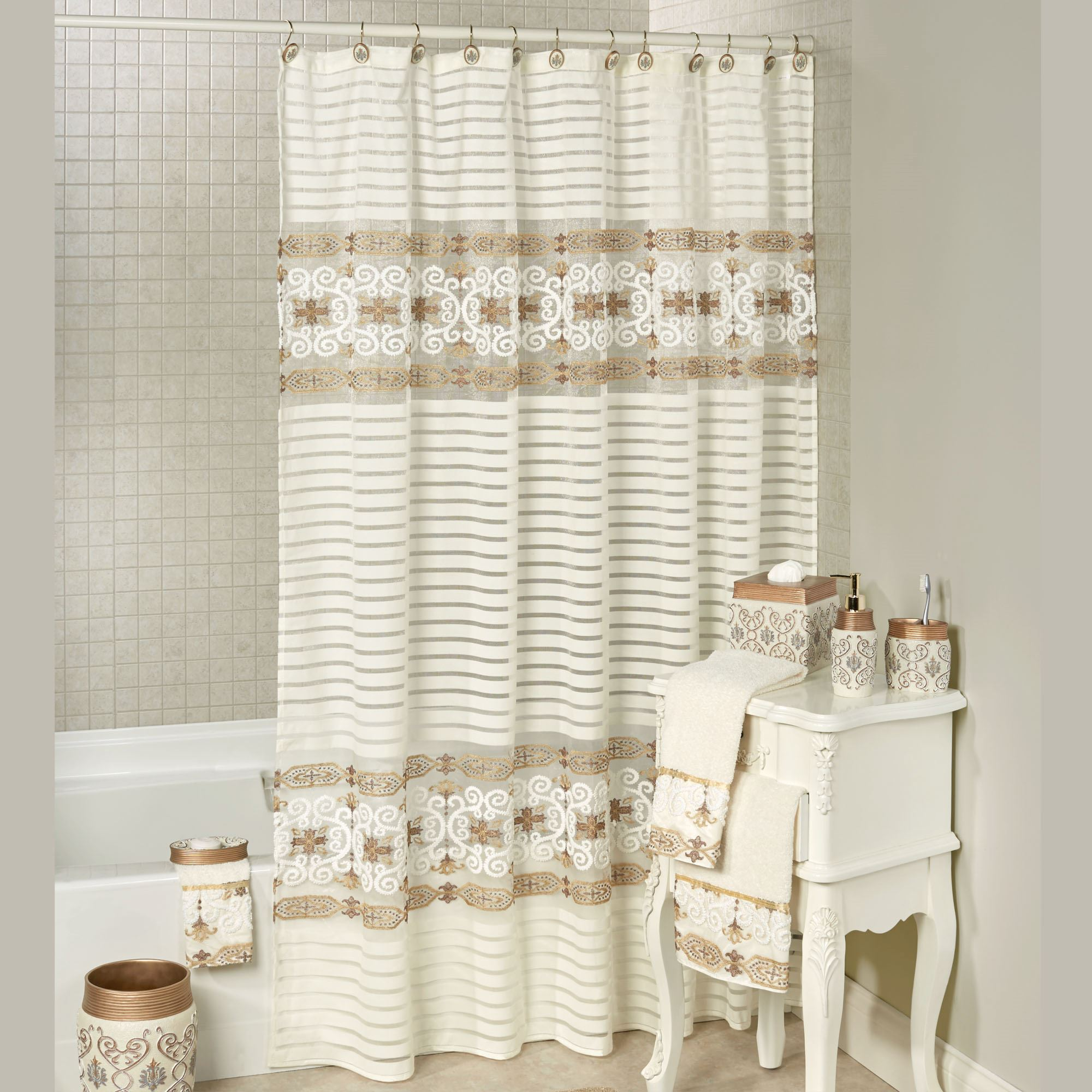 savoy embroidered semi sheer shower curtain