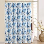 Waverly Tree Blossom Blue Floral Shower Curtain With Hooks