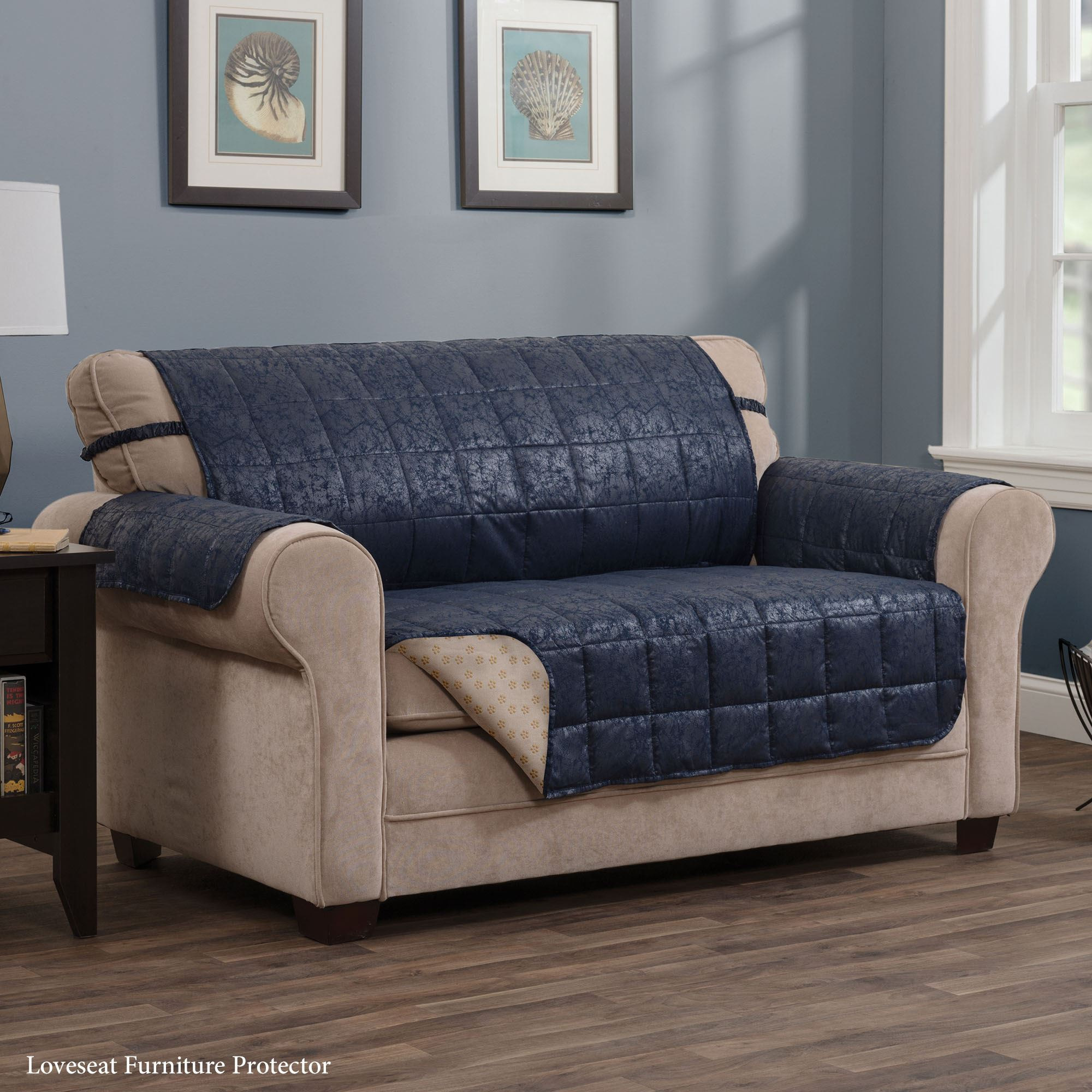 faux leather gripper chair cushions american doll wheelchair larue navy furniture protectors with
