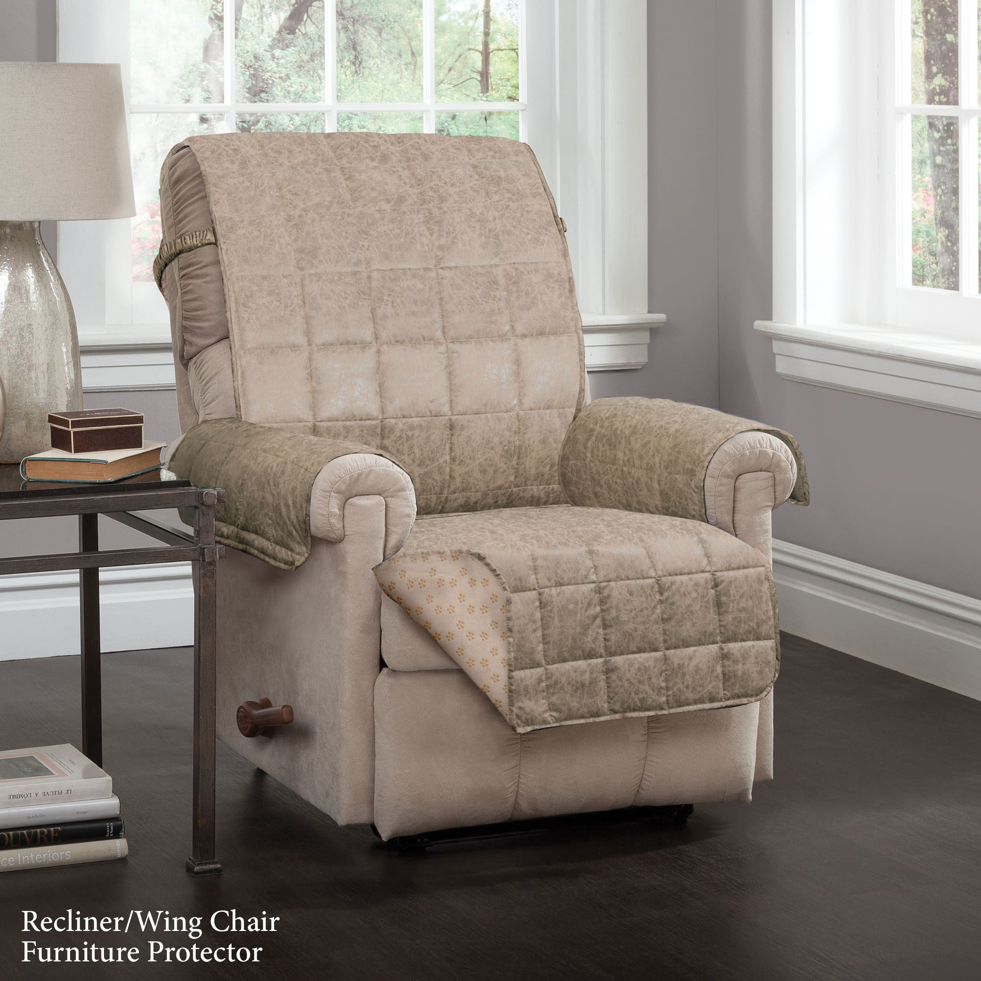 faux leather gripper chair cushions club slipcover bed bath and beyond larue sand furniture protectors with