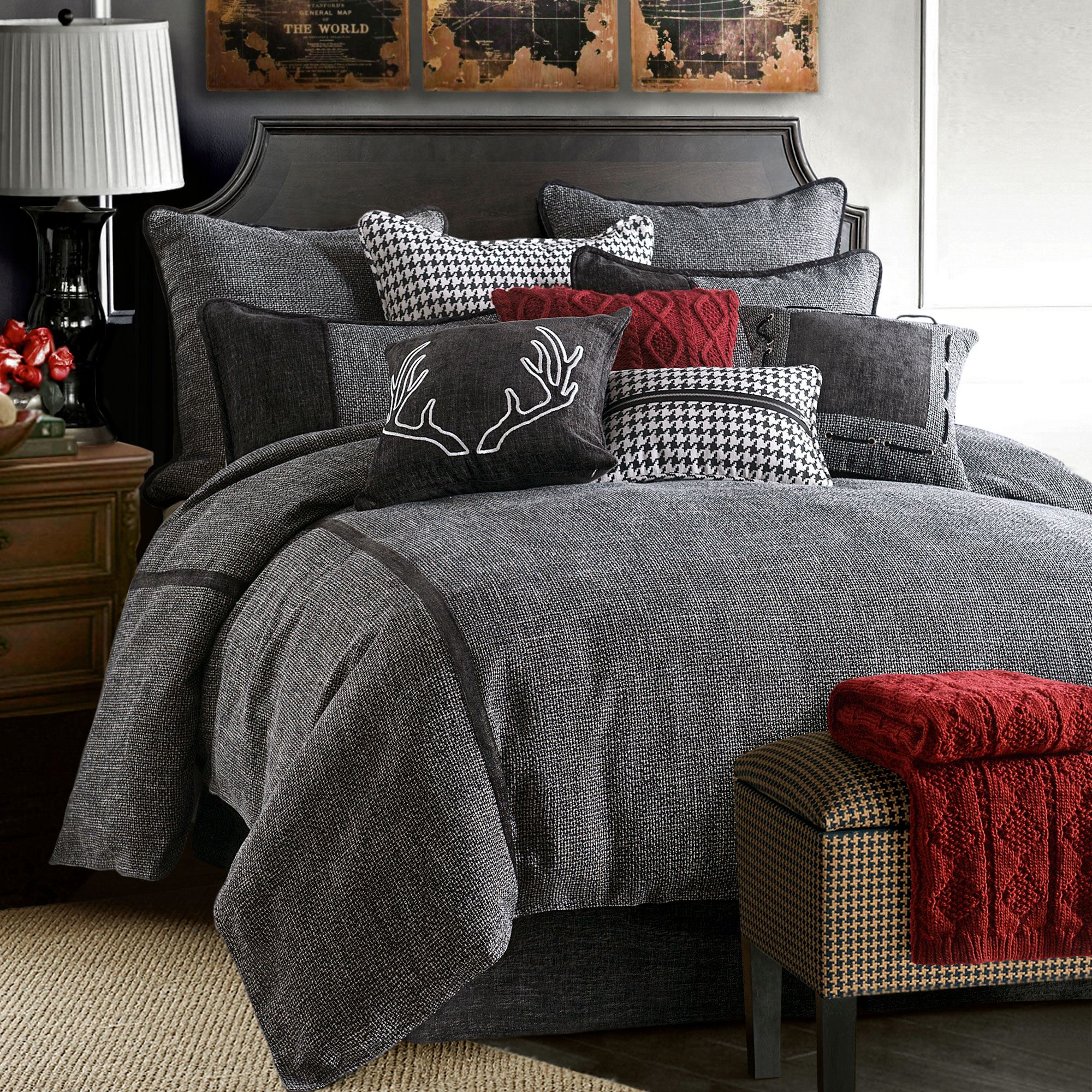 hamilton black tweed comforter bedding