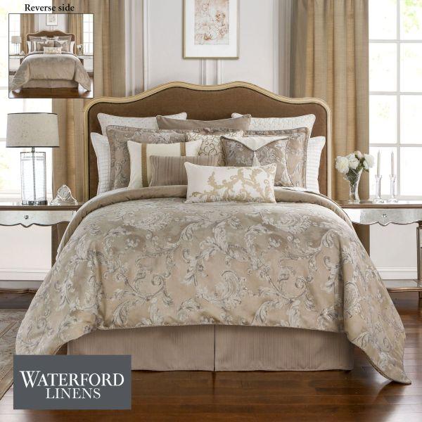 Chantelle Acanthus Leaf Beige Comforter Bedding