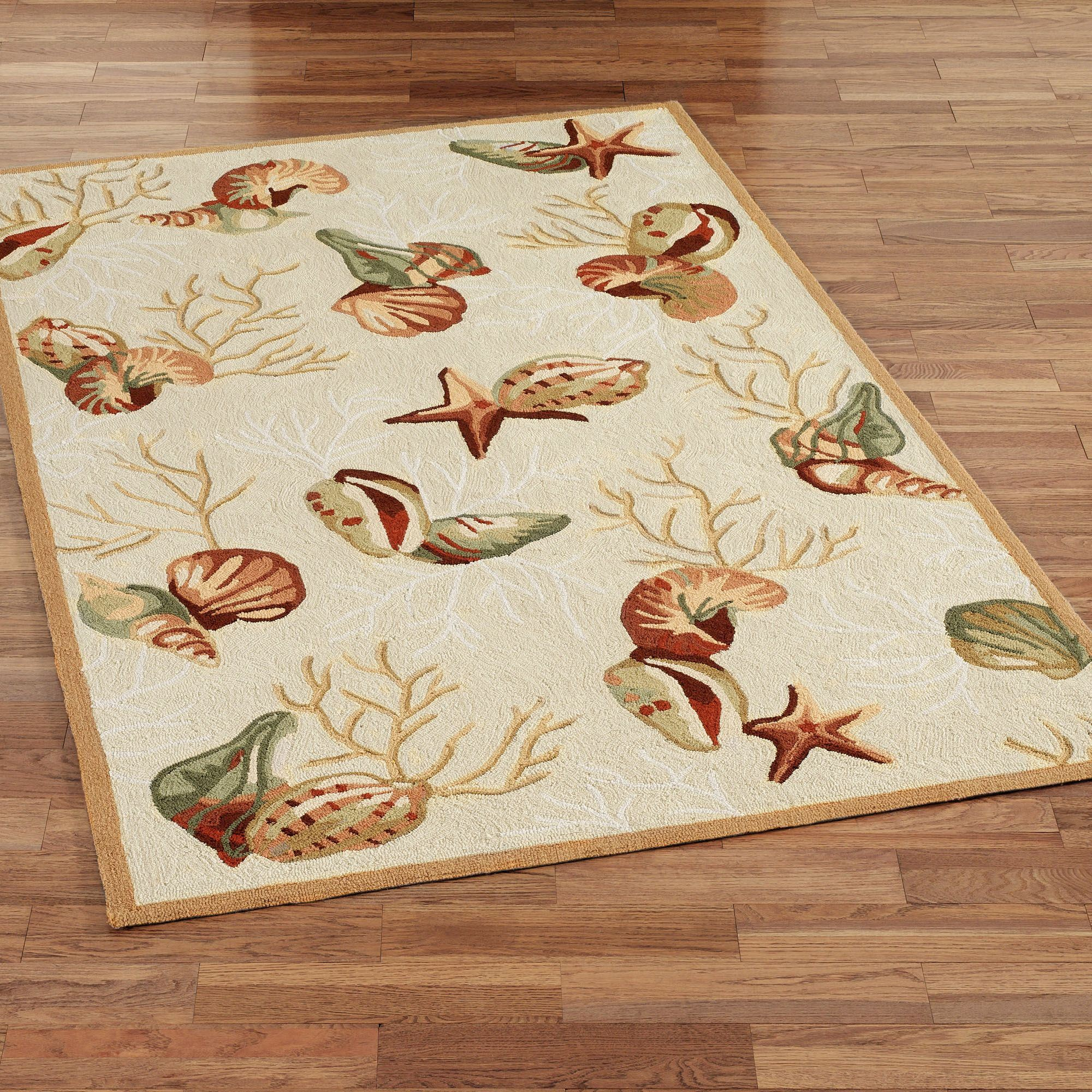 Coral Life Hooked Seashell Area Rugs