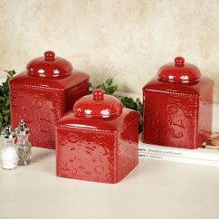 Canisters Kitchen Calphalon Essentials Dutch Oven Savannah Red Canister Set Touch To Zoom