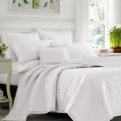 Kitchen Rugs Washable Rooms To Go Islands Heirloom Crochet Solid White Quilt Set By Laura Ashley