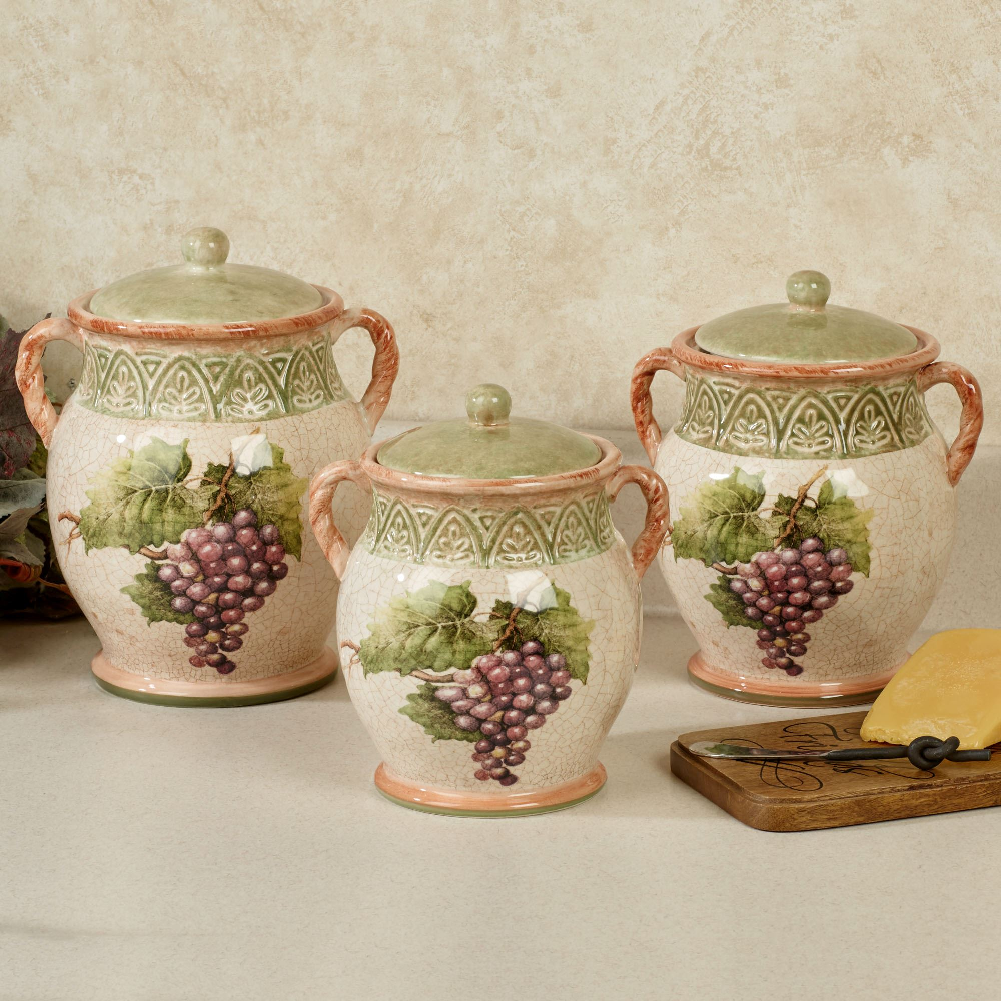 canisters kitchen french table sanctuary wine grapes canister set touch to zoom