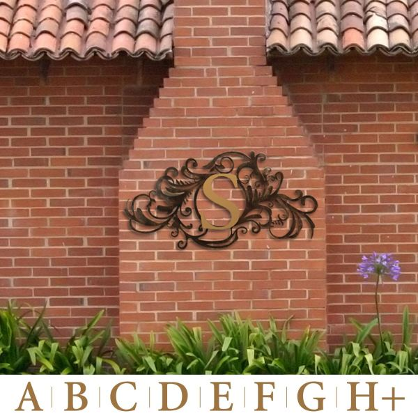 Outdoor Monogram Metal Wall Art