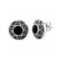 Onyx and Marcasite Stud Earrings