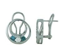 Three Stone Blue and White Diamond Earrings