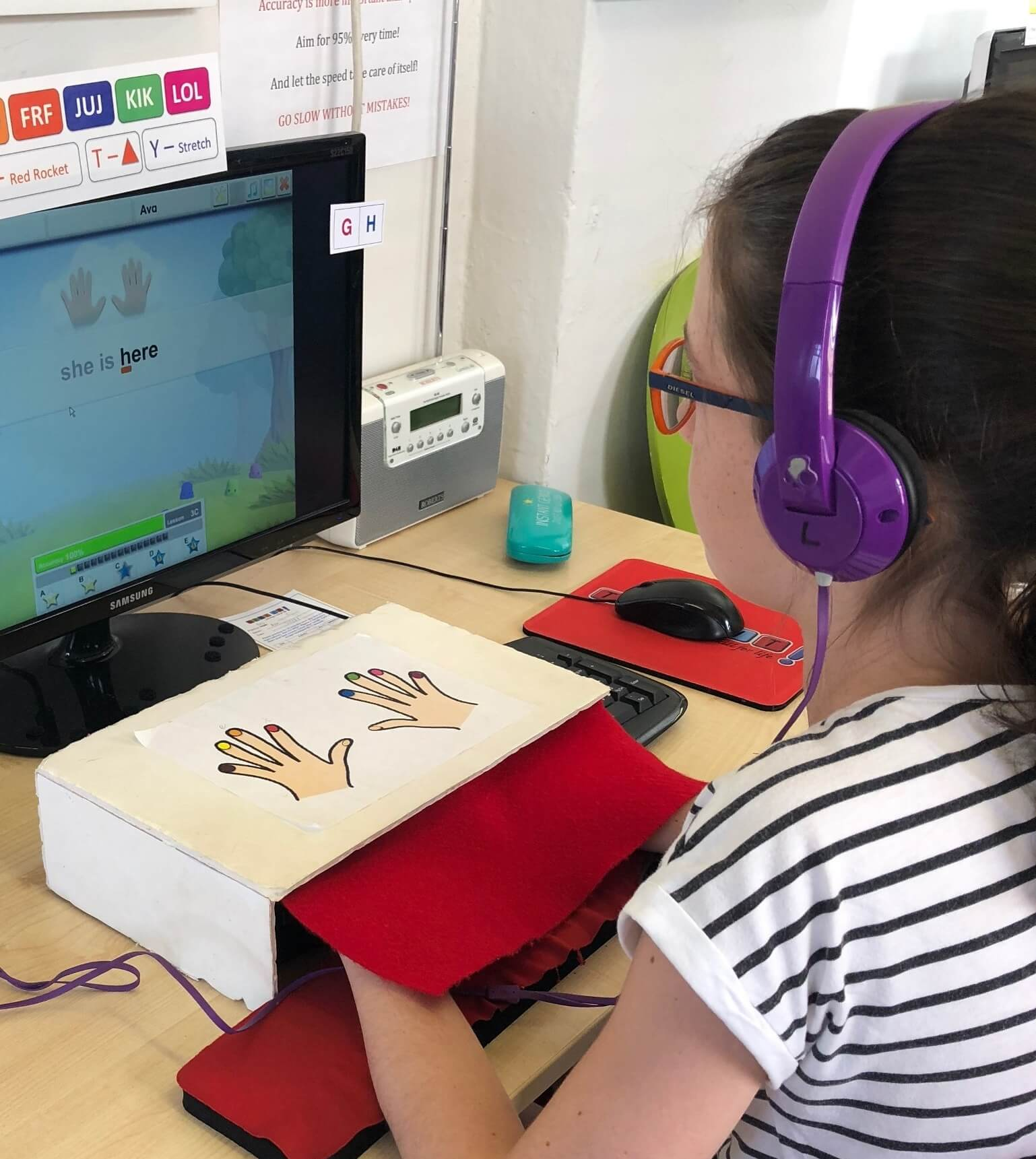 Girl learning touch typing at Type IT