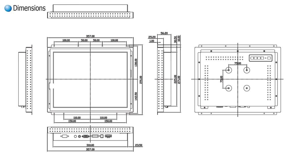 15 Inch Industrial Open Frame Mount LCD Touch Screen TWAP