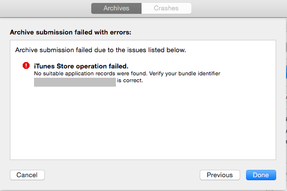 xCode Organizer No Suitable Applications Found