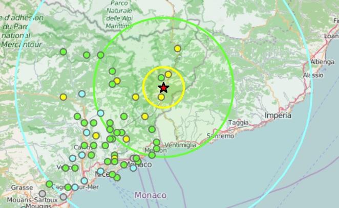 Tremblement de Terre au nord de Nice