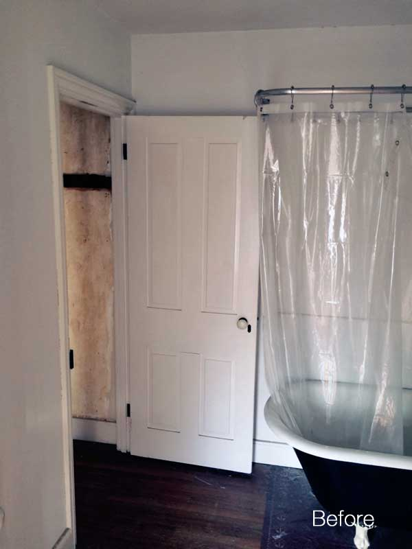 old bathroom with doorway into closet