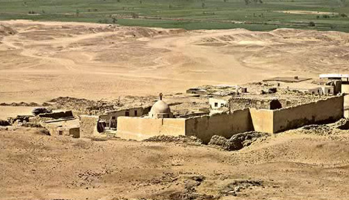 A view of the Monastery of the Archangel Gabriel in Egypt's Fayoum