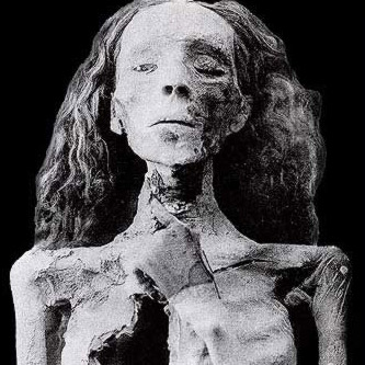 The mummy of elderly   woman from the 1898 cache has been at least tentatively identified as   Queen Tiye, the wife of Amenhotep III