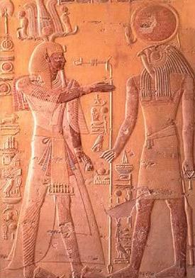 Re-Horakhty (right) and Osiris (left)