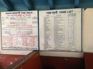 Toy Train timetable