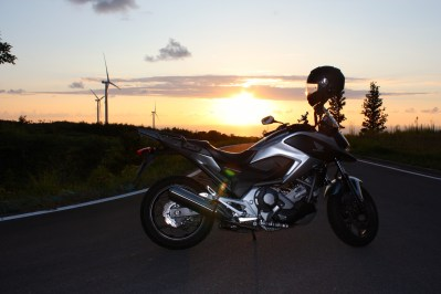 NC700X & Windmills at Sunset 1