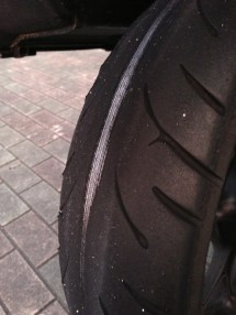 Skunked rear tire
