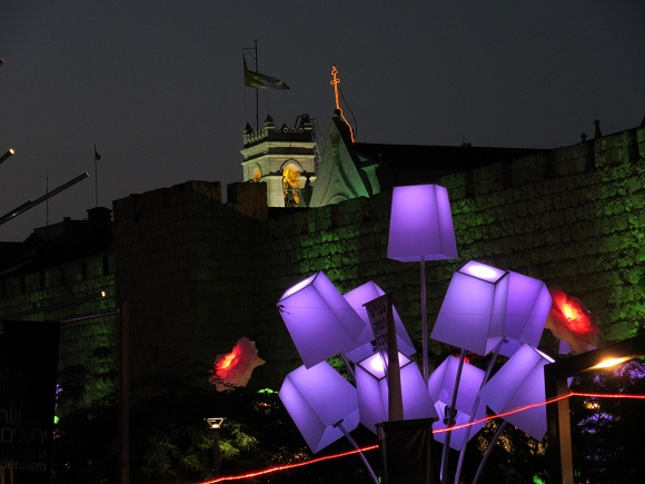 Touring Israel - jerusalem light festival 2015 blooming meadow from up close by deena levenstein