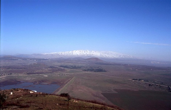 The Golan Heights with Mount Hermon in the background (photo from goisrael.com)