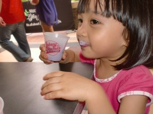 Halo-Halo get the moustache of approval from Aria.