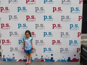 Photowall fun! Top: Disney Frozen T-shirt. Shorts: Terranova. Pardon the pink sparkly shoes; I was not able to bring another because I changed her clothes already!