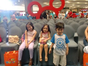 The blogger kids waiting for the event to start. And they got to seat on the front row!