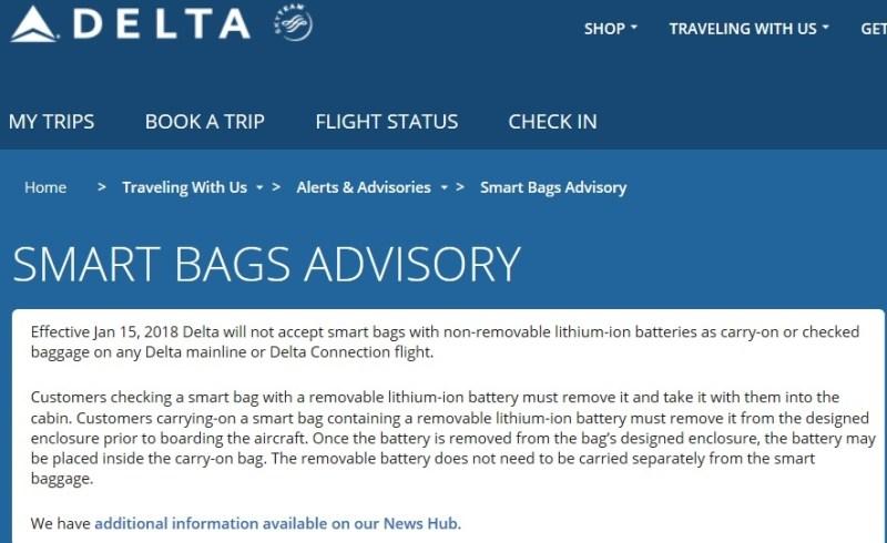 Delta Smart Bag Advisory