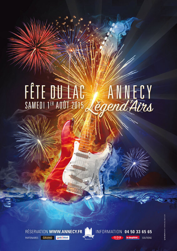 Annecy, fête du lac, spectacle pyrotechnique