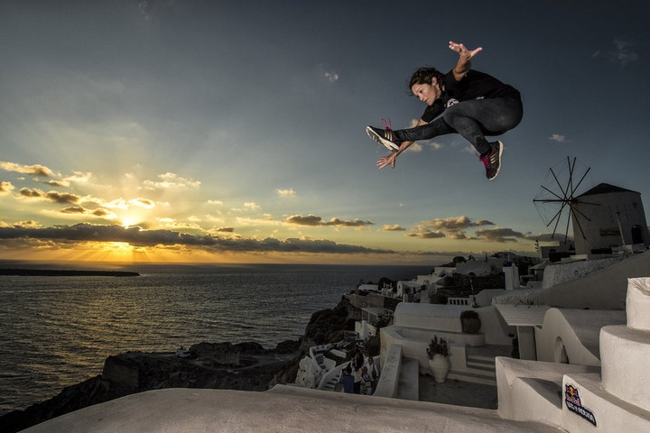 Lusi Romberg of the United States exploring the island of Santorini ahead of the Red Bull Art of Motion freerunning competition in Santorini, Greece on September 30, 2015.